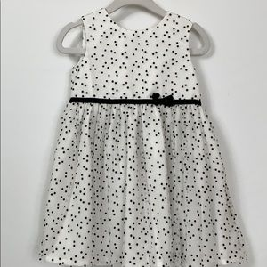 Carters black/white polka dot sleeveless dress 18M